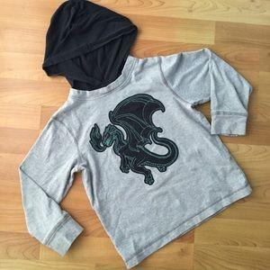 Gymboree Hoodie Tee Dragon Boys Size 6 Gray
